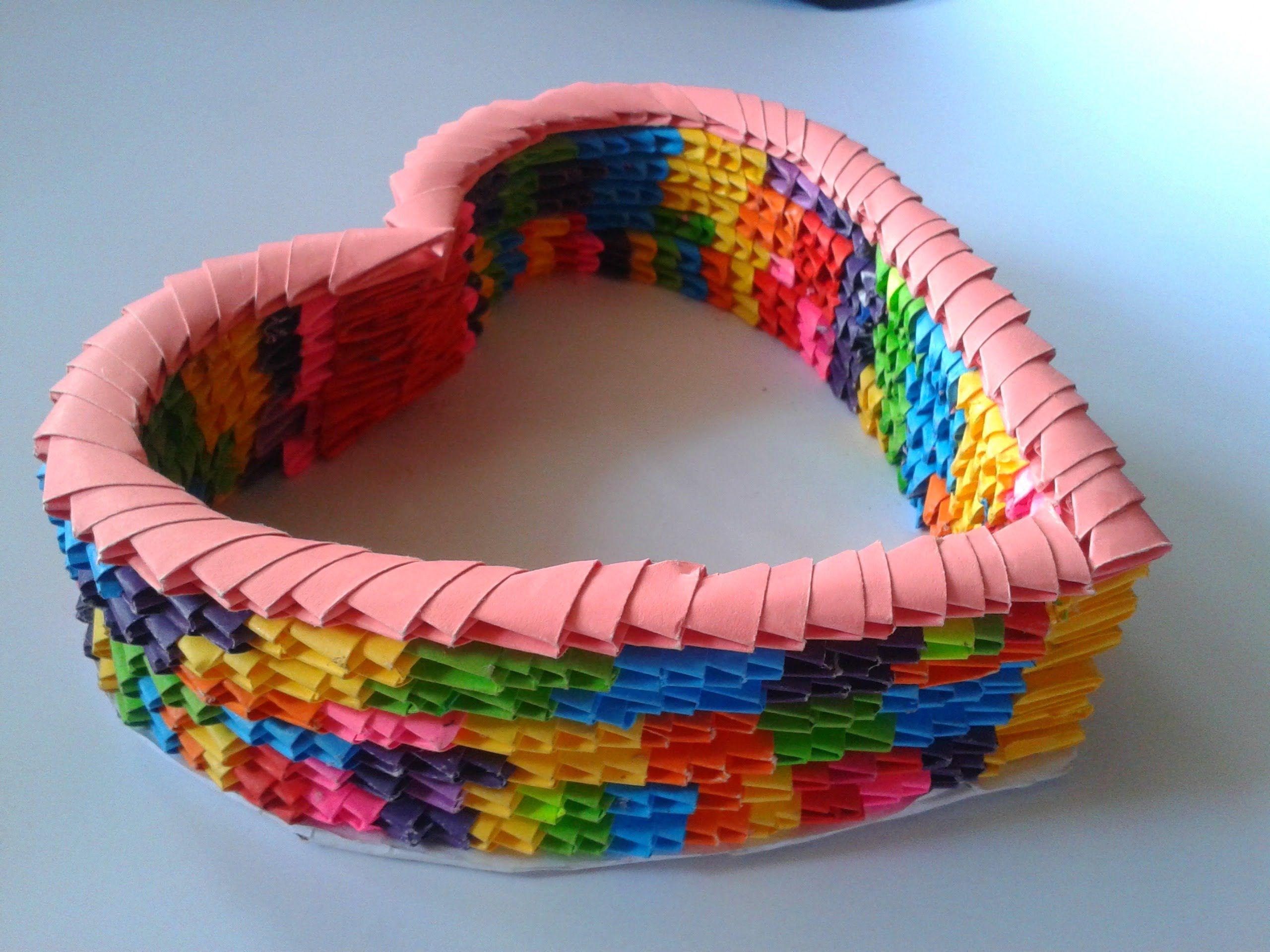canasta de coraz n origami 3d san valent n