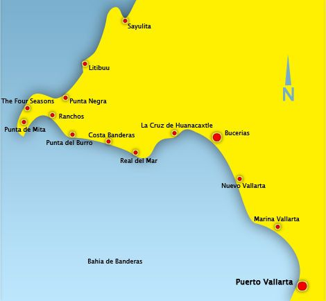 Map Of The Bahia De Banderas Best Surfing Spots Witty Comments Trip