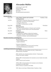 Cv Beispiel Deutsch Dokument Blogs