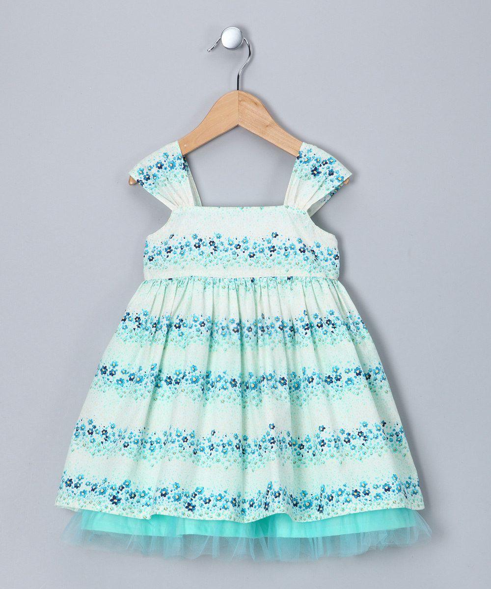Aqua Floral Stripe Bow Dress - Infant, Toddler & Girls