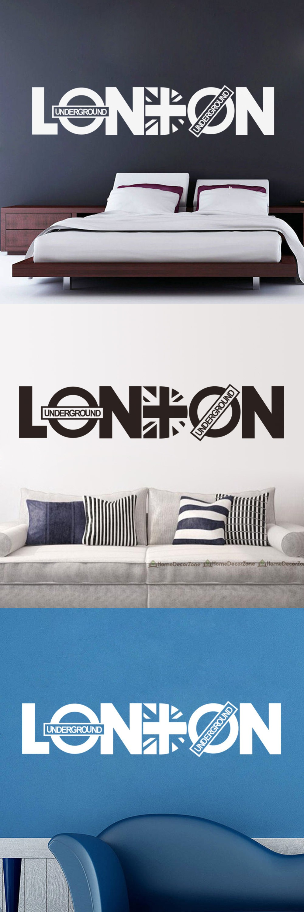 LONDON Character Home Decor Wall Sticker Creative Quotes Wall Decal Black White Color Vinyl ZY8345 $3.5