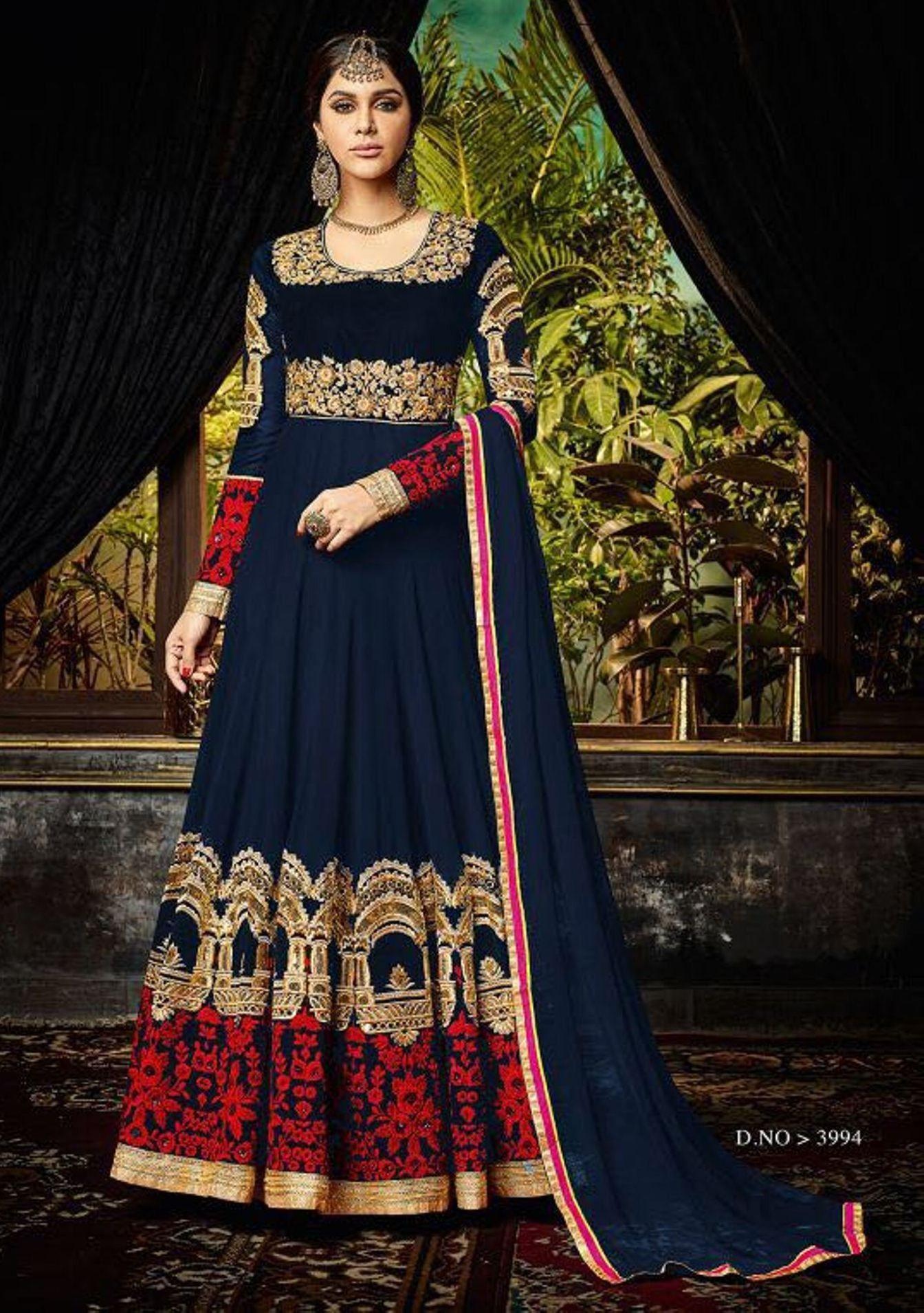 37a3cc4b3e42 Buy Apparels- Navy Blue Colour Pure Georgette and Fancy Materials Designer  Suit