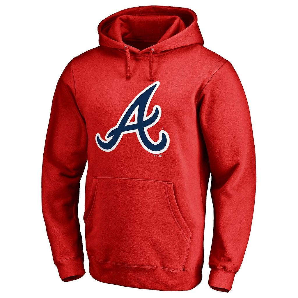 Men S Fanatics Branded Red Atlanta Braves Primary Logo Pullover Hoodie Hoodies Atlanta Braves Pullover