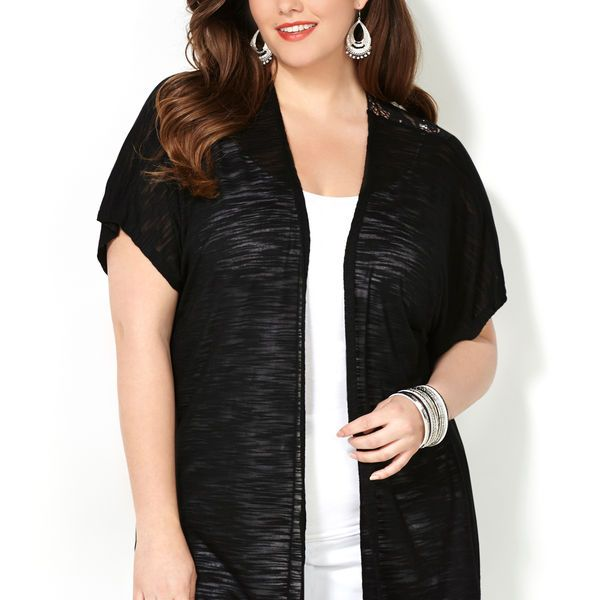 Lace Back Cardigan-Plus Size Cardigan-Avenue