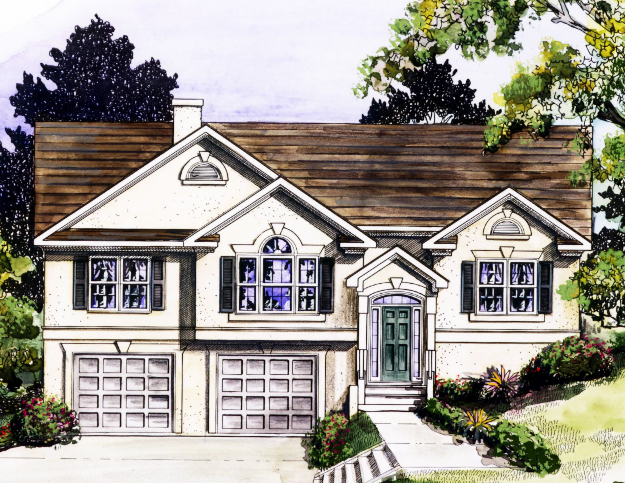 Plan 3694dk Stylish Split Level Home Plan Split Level House Plans Split Level Remodel Exterior Split Level House