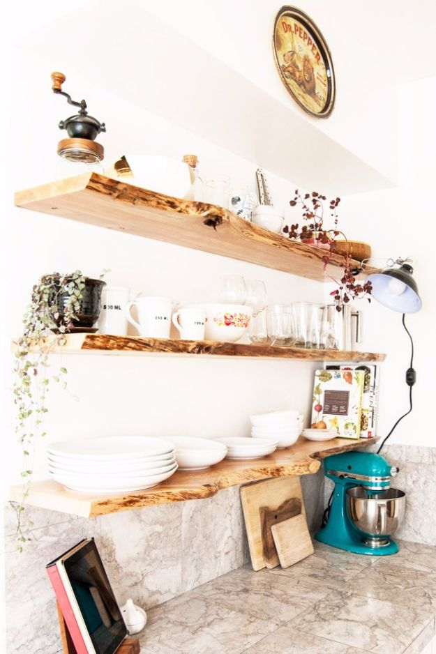 Photo of Kitchen Floating Live-Edge Shelves