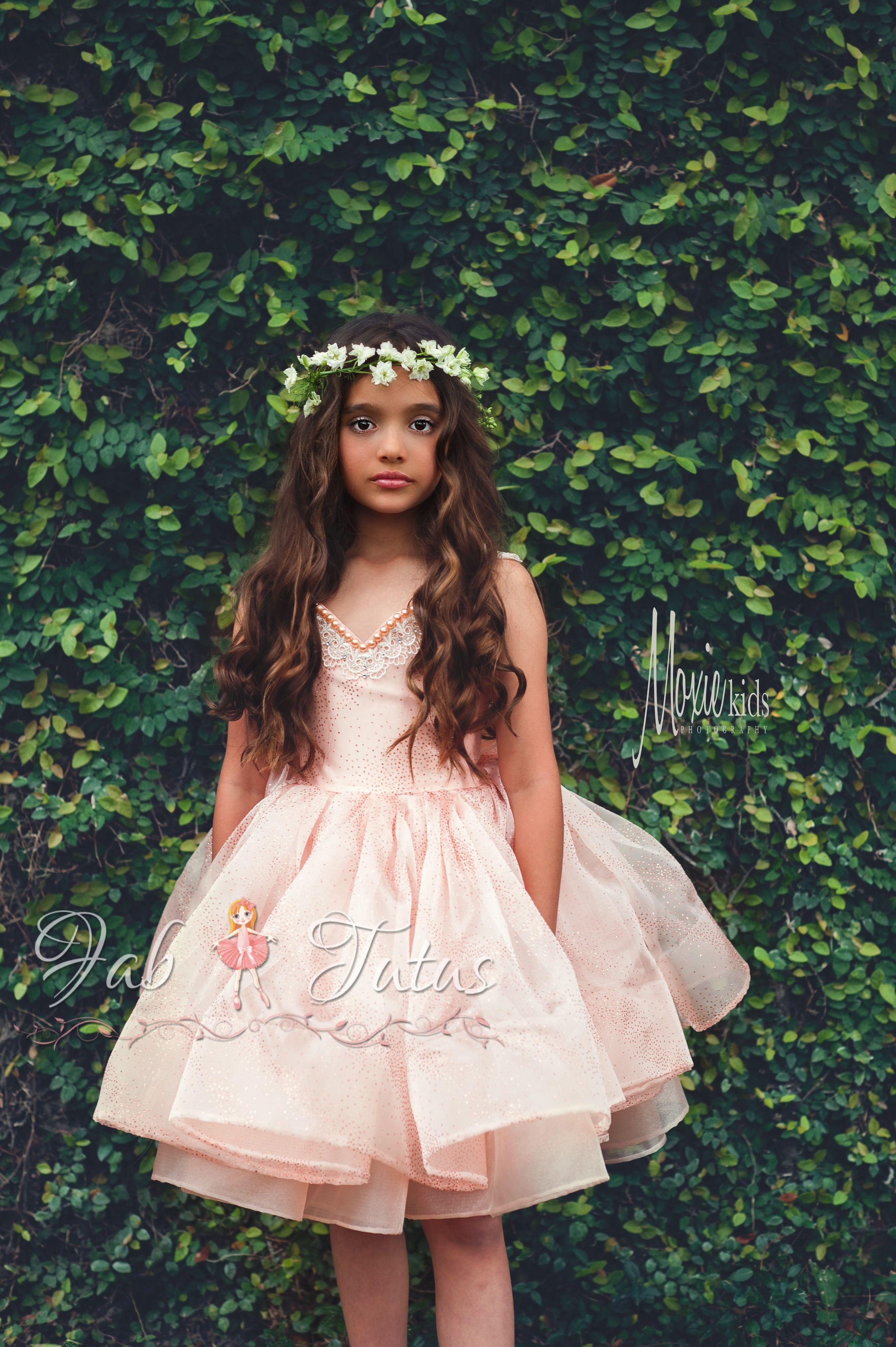 Modern Flower Tutu Dress With Horsehair Braid Blush Gold Sparkle Organza