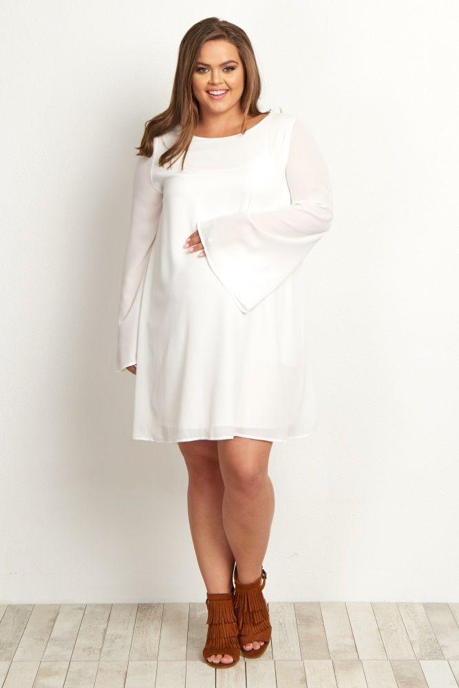 White Chiffon Bell Sleeve Plus Maternity Dress | Baby Gear and ...