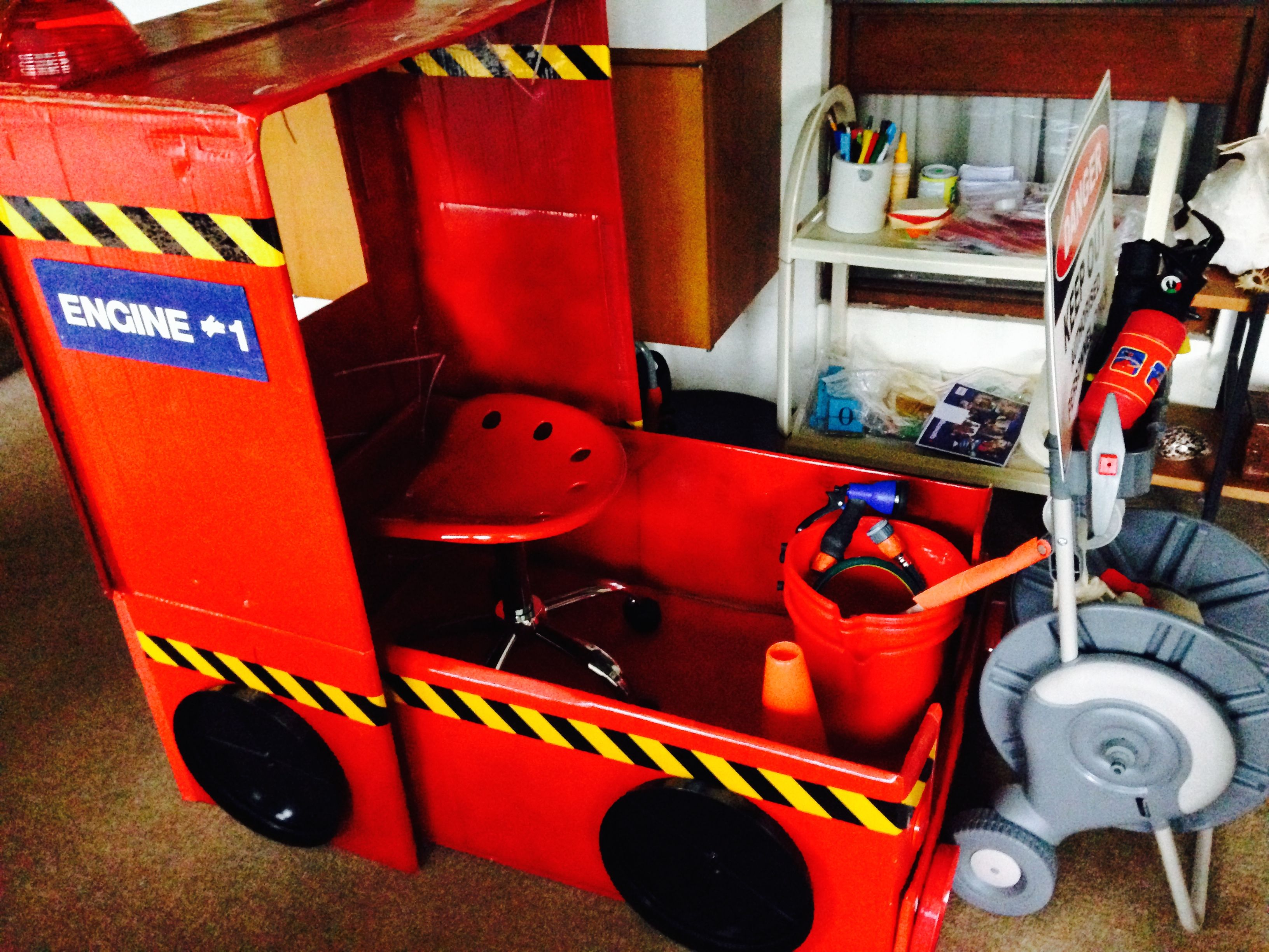 Toys toy boxes and fire trucks on pinterest - Side View Of My Fire Truck Complete With Fire Hose Garden Hose Reel And