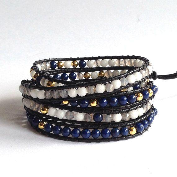 Blue NAVY Gemstone Beded Five Wrap Leather di LunaArtdesigns