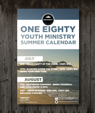 We designed this calendar for our youth ministry. It's a great way to show parents that you have a plan.
