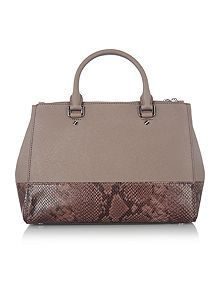 Sutton stud taupe double zip tote bag
