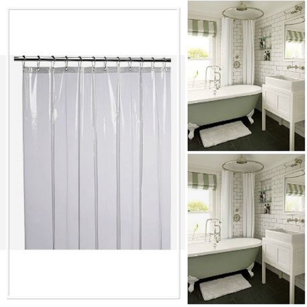 Shower Curtain Liner Clear Resistant Anti Bacterial 72x72 Made From PVC LiBa