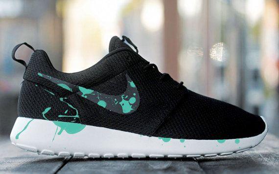 Custom Nike Roshe Run sneakers, Paint Spill, Splatter, black