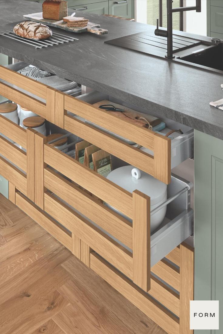 Green Shaker Style Hidden Kitchen Cabinets In 2020 German Kitchen Design Minimalist Kitchen Design Handleless Kitchen