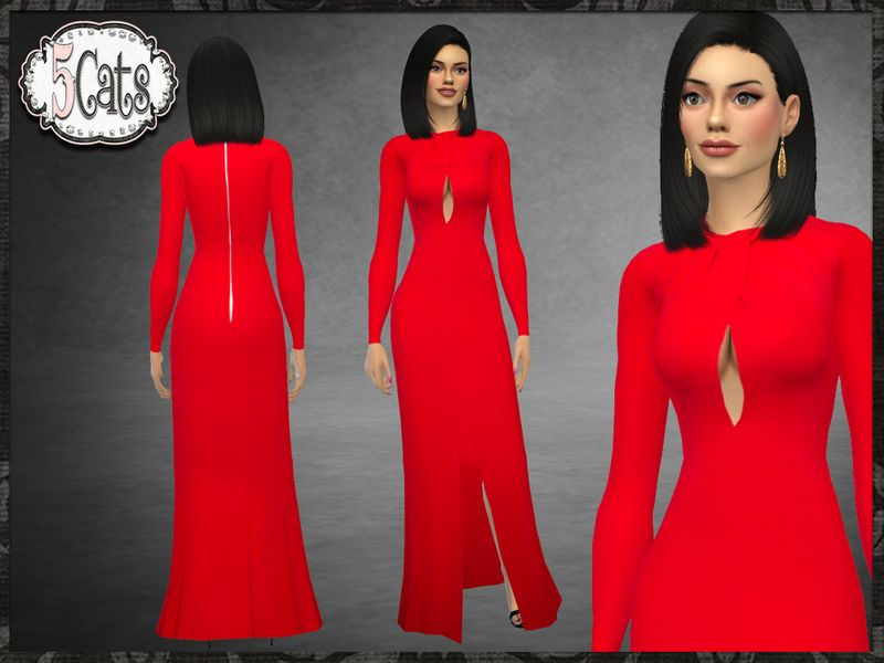 aa37dd774676 Designer inspired by Zuhair Murad long gown with front middle slit twisted  collar with revealing keyhole. 6 color options. Found in TSR Category  Sims  4 ...