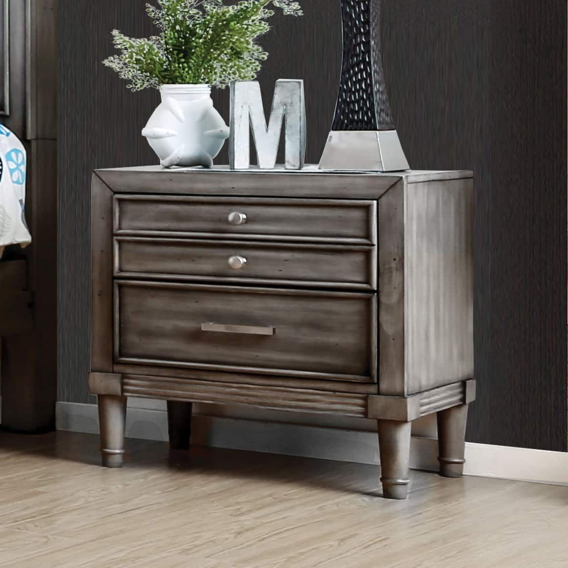 Furniture of america kerilan transitional 3 drawer grey nightstand with hidden drawer