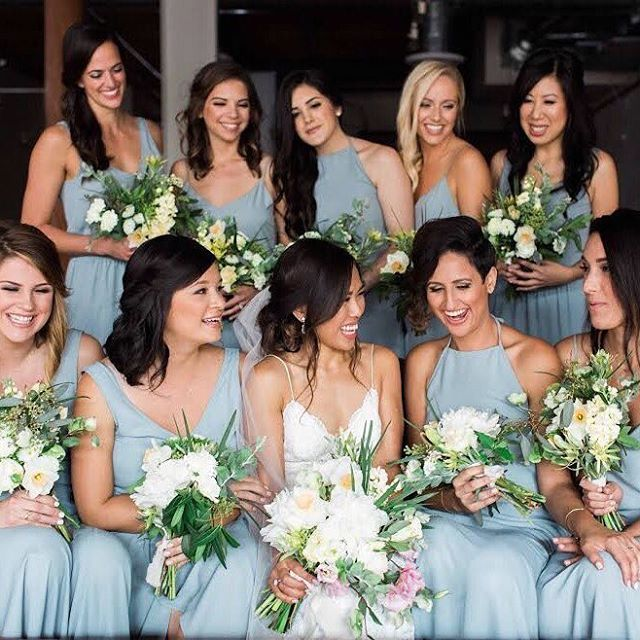 c9447b86d50 Happy besties in  showmeyourmumu Silver Sage bridesmaid dresses!   mumuweddings