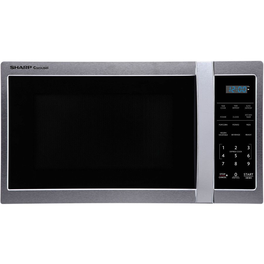 Sharp 0 9 Cu Ft 900 Watt Countertop Microwave Stainless Steel Stainless Steel Microwave Countertop Microwave Countertops