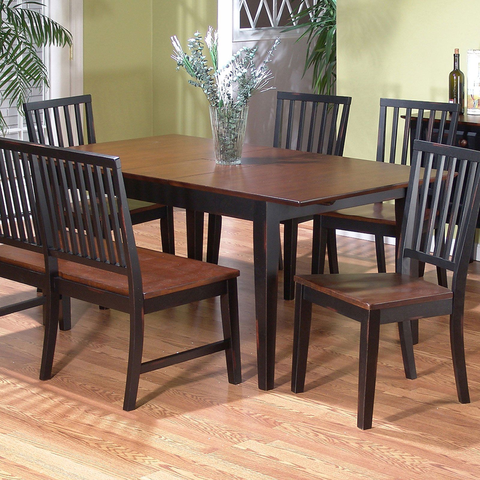 Dining Room Table Bench Inspirations Solid Wood Black Gallery Furniture Rectangle Brown Glossy Wooden And With Back On Cream Laminated Floor Lianglihome