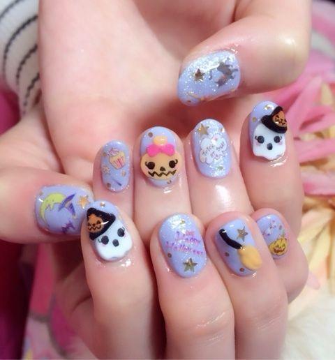 cutie halloween nails | Cute halloween nails, Kawaii nail ...