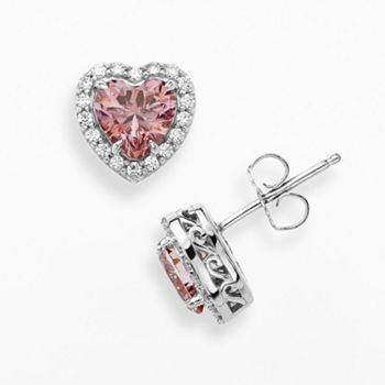 28bdc5634 Emotions Sterling Silver Heart Frame Stud Earrings - Made with Swarovski  Zirconia #Kohls