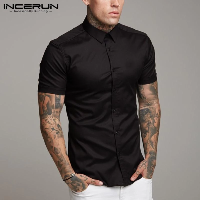 Coolred-Men Short-Sleeve Plus Size Pocket Simple Lapel Collar Silm Fit Work Shirt