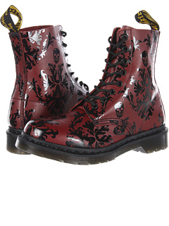 So I just bought these. Dr. Martens cherry red with a black floral/skull print