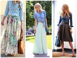 бежевая юбка с джинсовой рубашкой - Поиск в Google