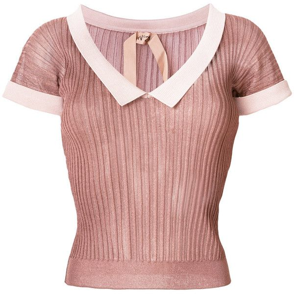 Sale Latest Collections Low Price Cheap Price cropped ribbed T-shirt - Pink & Purple N°21 Free Shipping Order Free Shipping Cheap Online vlugyZa