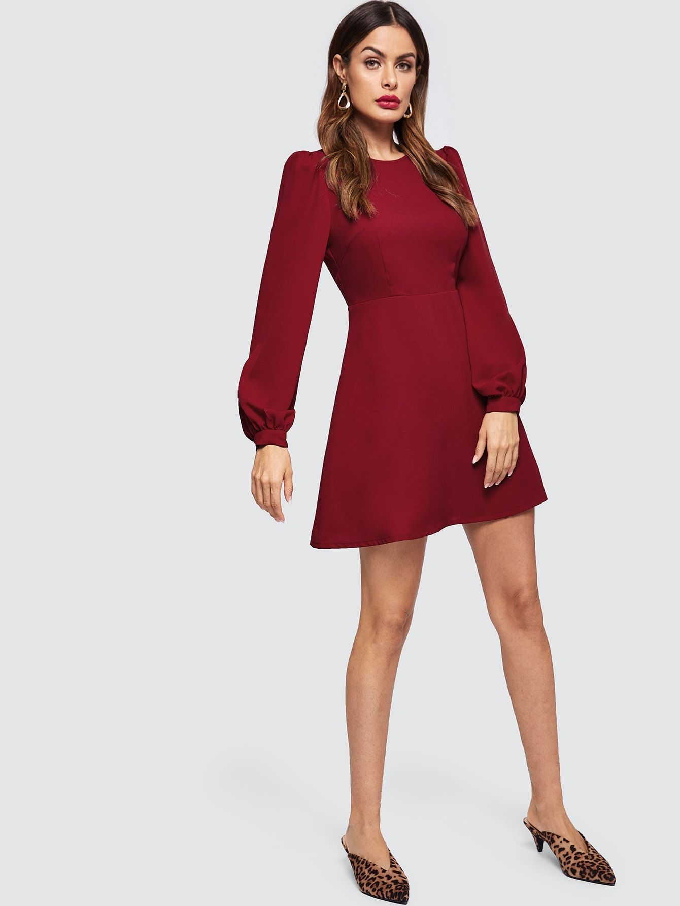 f99bda1b5c Casual Plain Fit and Flare Round Neck Long Sleeve High Waist Burgundy Short  Length Bishop Sleeve Fit   Flare Dress