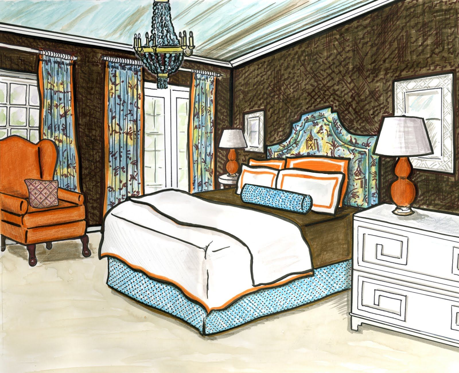 Bedroom drawing with color - Original Wedding Invitations And More See More Line Drawing Office Bedroom