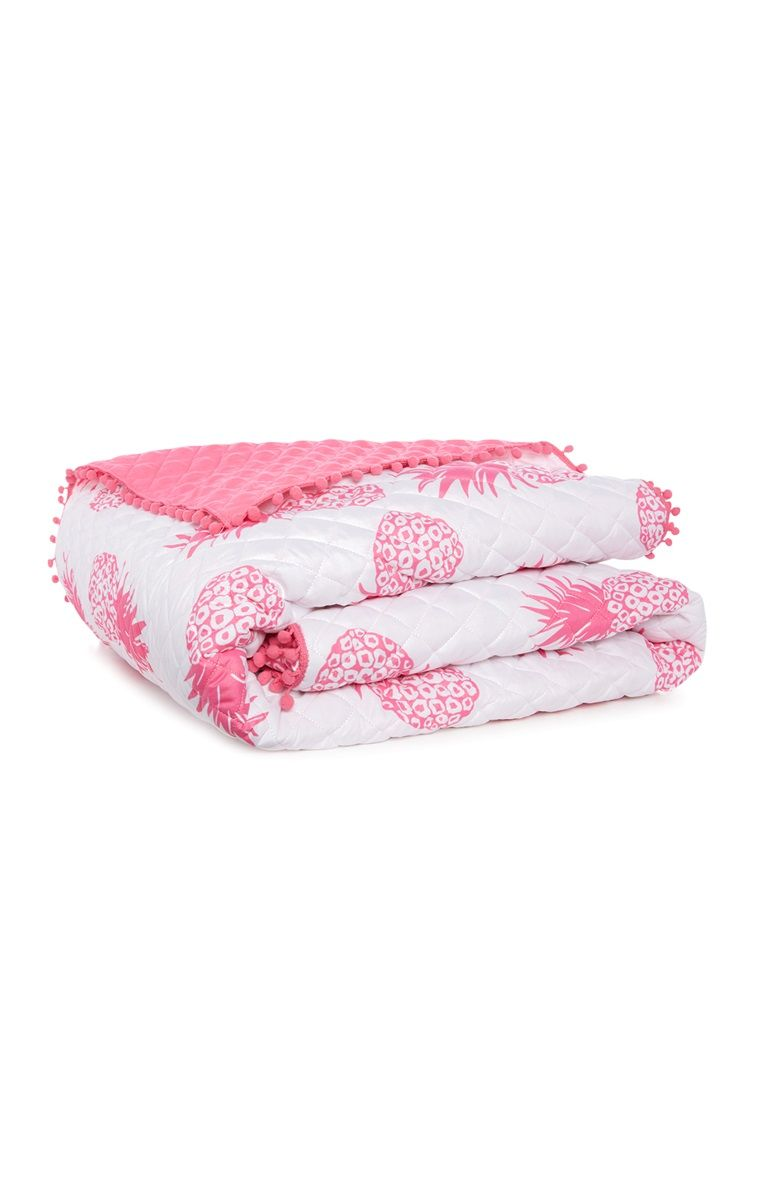 Primark Pink White Pineapple Quilted Throw White Pineapple Pineapple Quilt Throw Quilt