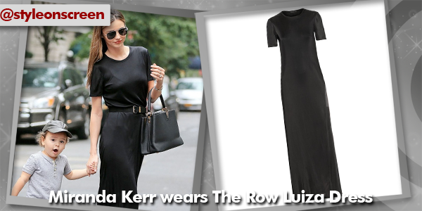 Where did Miranda Kerr get her black maxi dress from whilst out in New York with her son? - Style on Screen