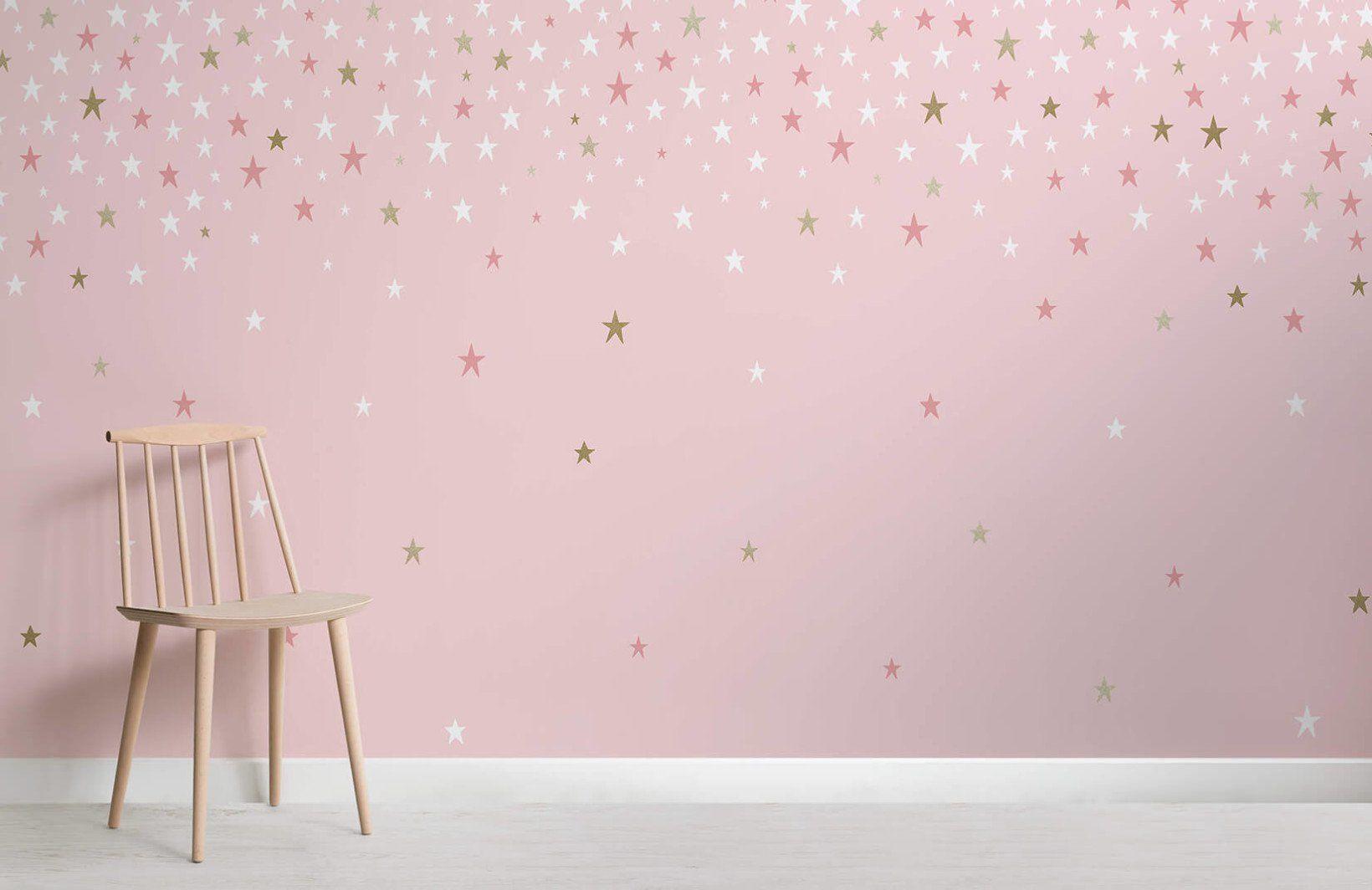 Pink Falling Star Wallpaper Mural Girls Bedroom Wallpaper Girls