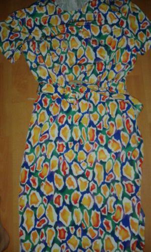 vintage 70's brightly coloured belted patterned dress short sleeves