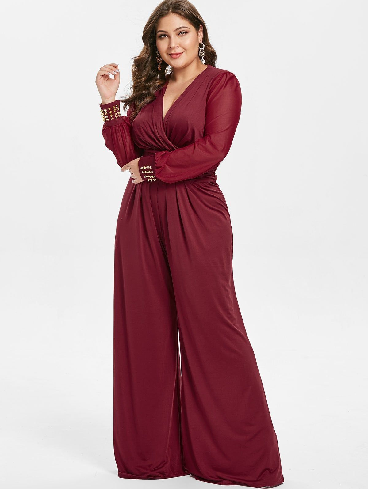 d2e3cacb6149 Plus Size Long Sleeves Surplice Jumpsuit with Rivets Spring jumpsuit long  cute rompers  Spring jumpsuit long spaghetti straps  Spring jumpsuit long  ...