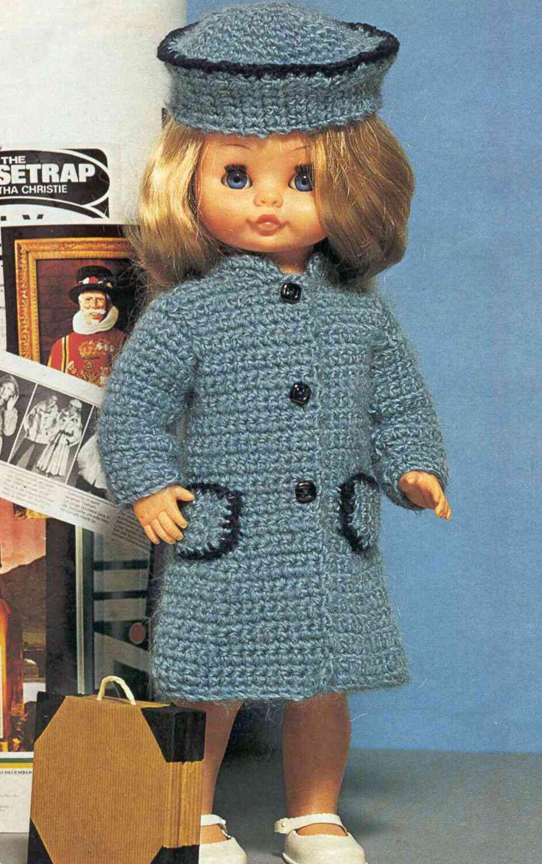 Manteau et chapeau - Brico-line | Vêtements de poupée en crochet, Manteau tricoté, Modèles de ...