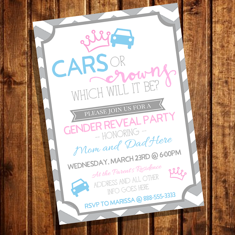 baby shower invitation for twins%0A MLynn Events  Cars or Crowns Gender Reveal Party