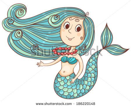 Cute mermaid with red beads isolated on white.Vector cartoon illustration.
