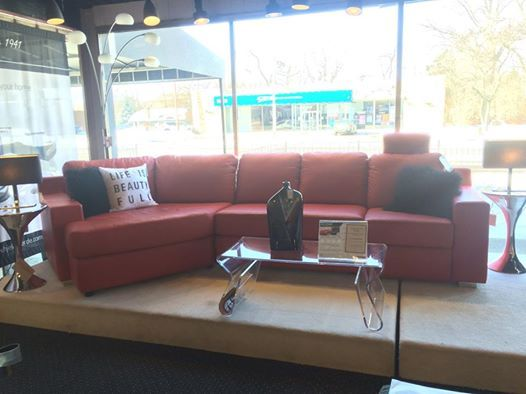 """Jaymar Riopel Sectional in a Grade 40 Cherry Red Leather. With a 60"""" depth angled seat, this is the perfect sectional to curl up on under a throw blanket on a cold winter day! Comes in multiple different configurations and leathers to create your dream sectional!"""