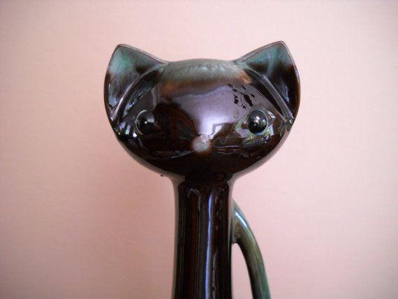 Mid Century Modern Ceramic Pottery Cat by Modernaire on Etsy, $25.00