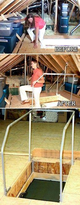 Best Attic Ladder Safety Railing In 2020 Attic Storage Attic 400 x 300