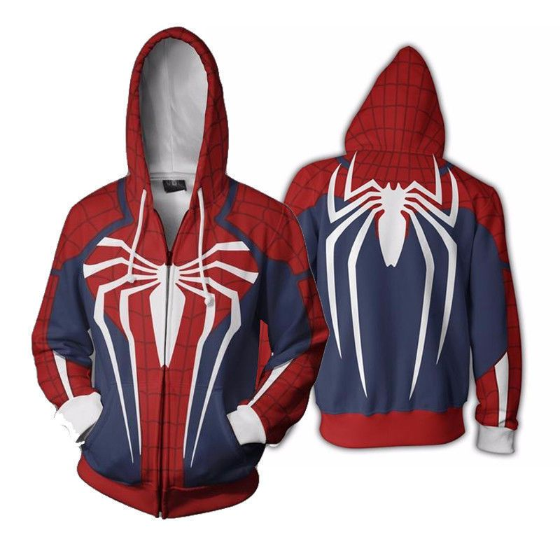 Insomniac Spider-man Costume PS4 Game Spiderman Sweatshirt Hoodie Zipper Jacket