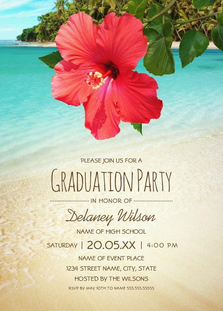 Personalised Digital File Island Beach Party- Modern Birthday Invitation Landscape