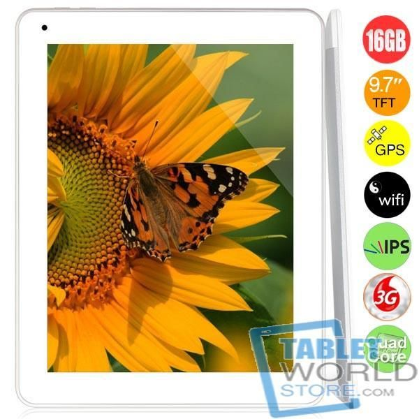 The product is Newsmy NewPad F9 Quad Core 2G/3G Phone Tablet PC w/ MTK8389 9.7inch IPS Screen 1GB 16GB GPS Bluetooth FM WiFi. It features MTK8389 Cortex-A7 Quad Cores 1.2GHz CPU, Android 4.2 OS, front 2.0MP camera, rear 5.0MP camera, 9.7inch IPS display, capacitive touch screen, 1024 x 768 pixels resolution, GPS, etc.