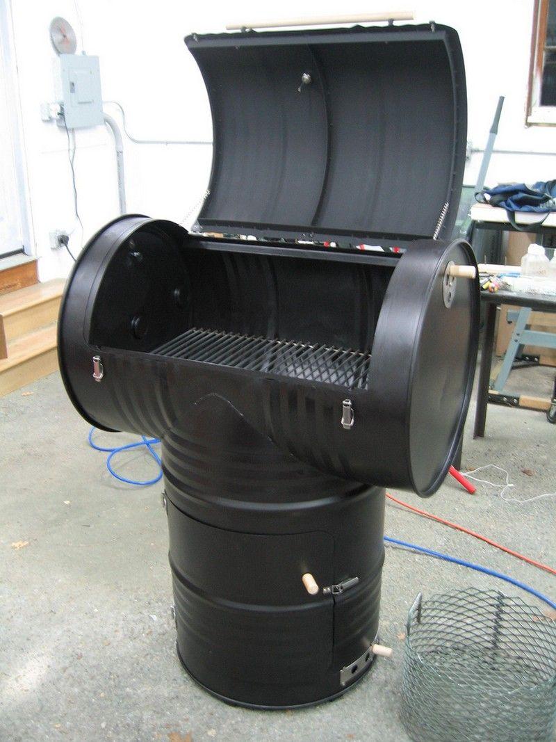 Diy drum smoker final assembly create pinterest drum smoker