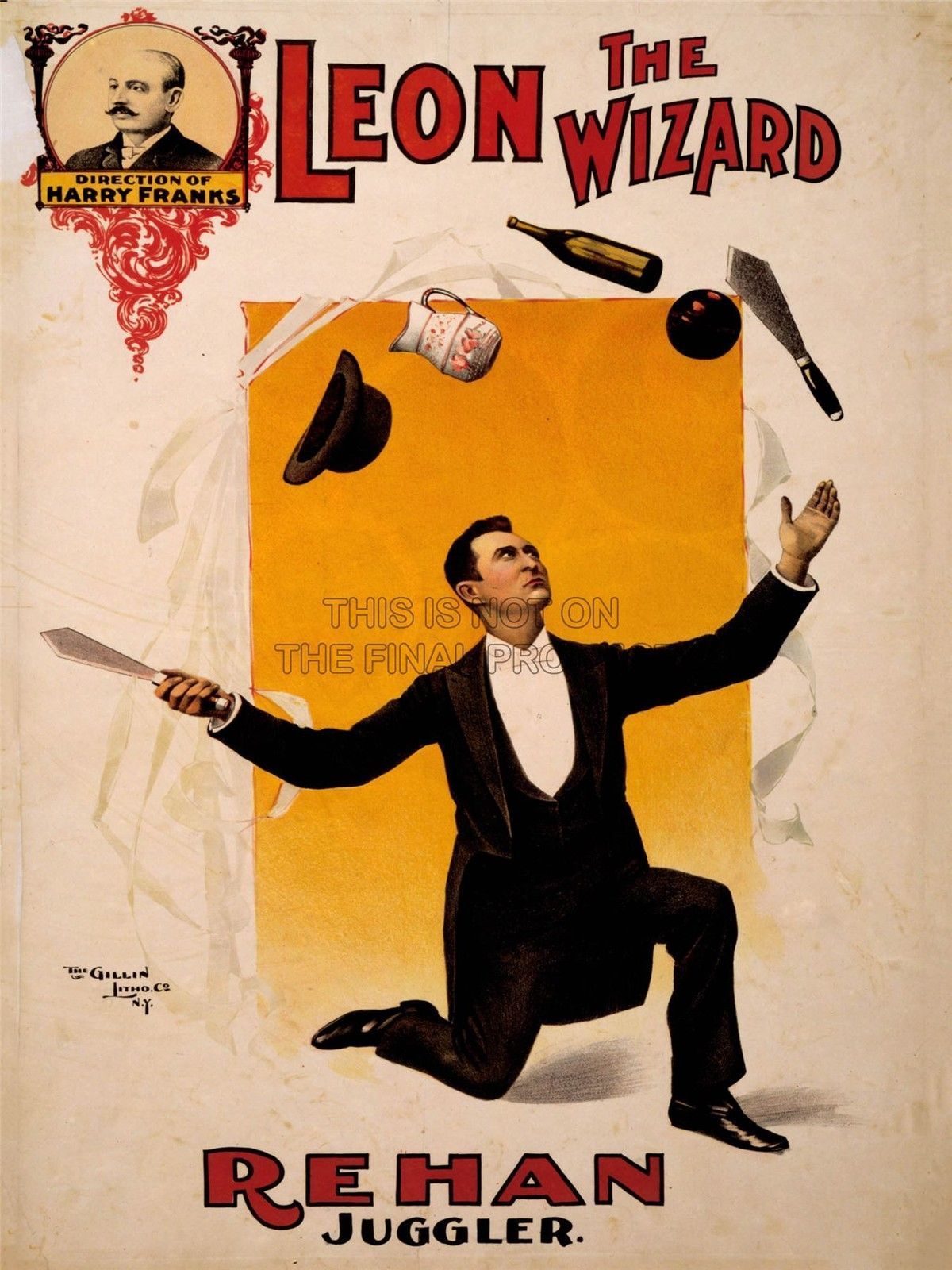 Advertising Circus Vaudeville Leon Wizard Rehan Juggler Act Poster Print