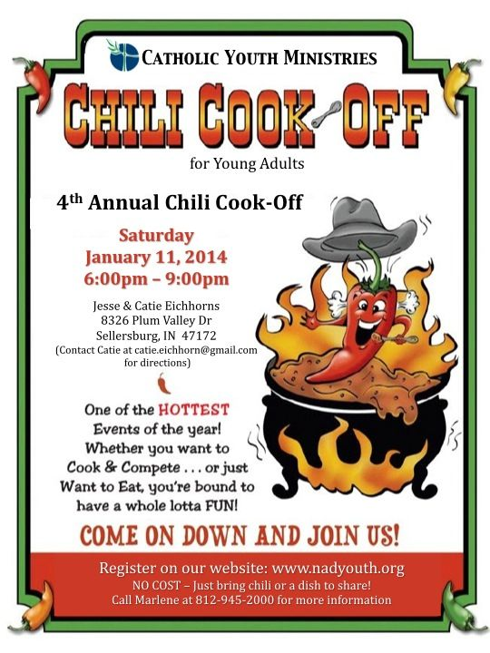 Pin By Leah Kelly On New Albany Deanery Catholic Youth Ministries Chili Cook Off Cook Off Chilli Cookoff