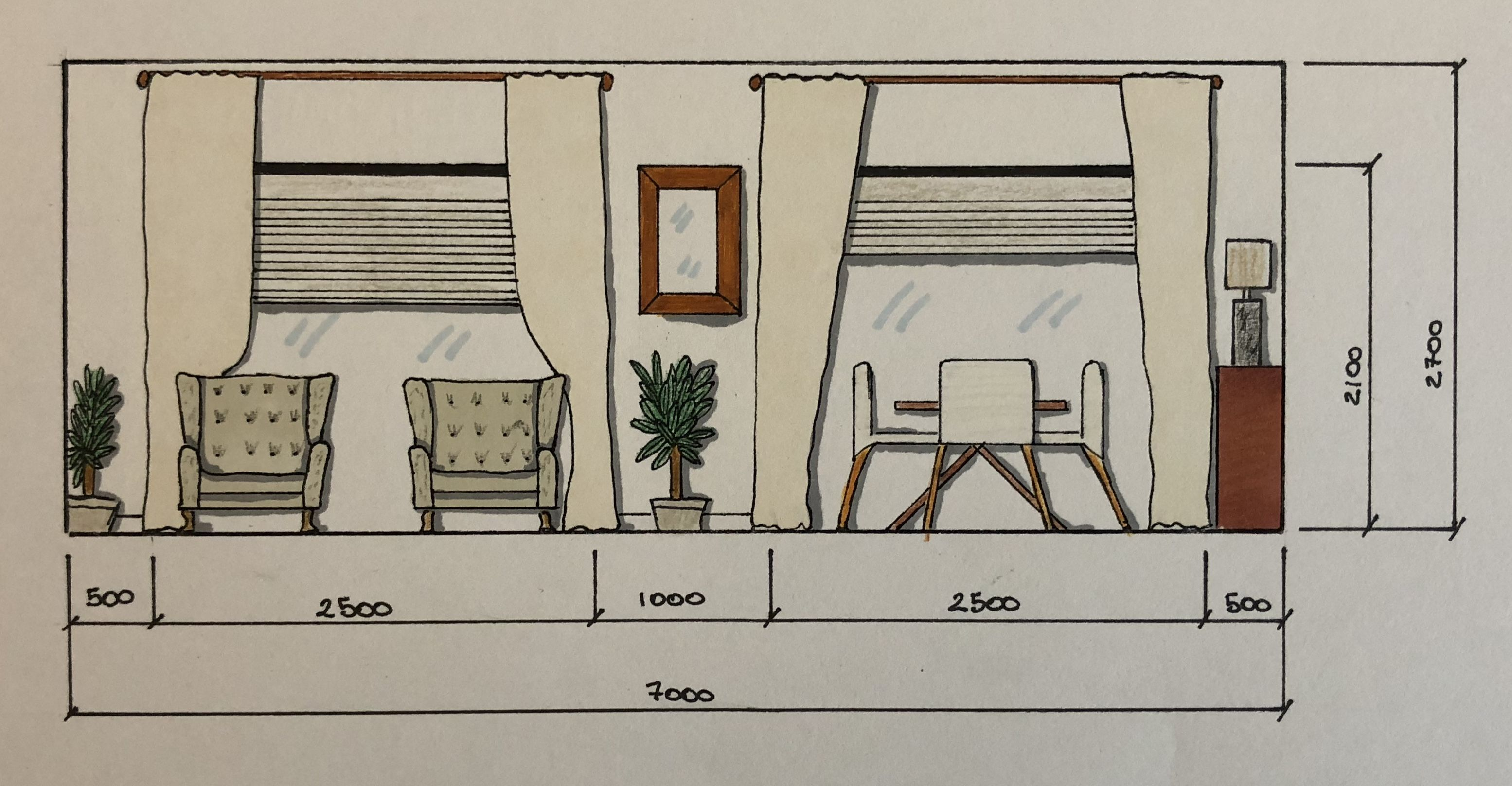 Hand Rendering Elevation Technical Drawings Interior